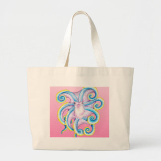 Octopus Stained Glass Pink Large Tote Bag