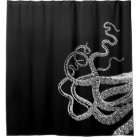 Octopus Tentacles black shower curtain
