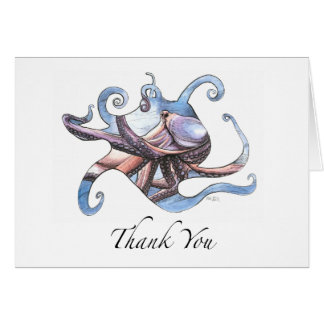 Octopus Thank You Card pen and ink illustration