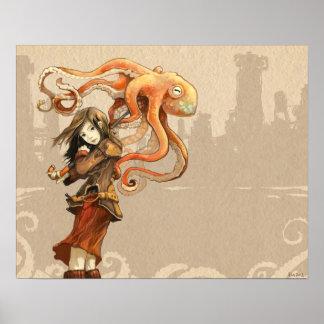Octopus Umbrella Poster 20 x 16 inches