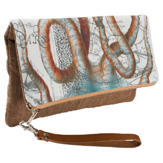 Octopus Vintage Map Clutch