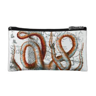 Octopus Vintage Map Cosmetic Bag