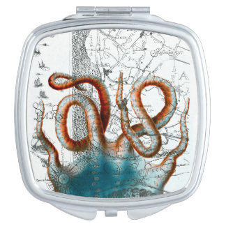 Octopus Vintage Map Makeup Mirror
