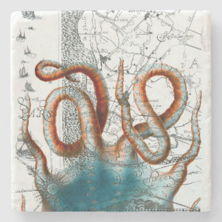 Octopus Vintage Map Stone Coaster