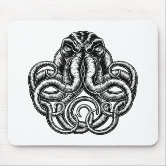 Octopus Vintage Retro Style Mouse Pad