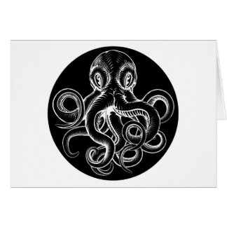 Octopus vintage woodcut engraved etched style card
