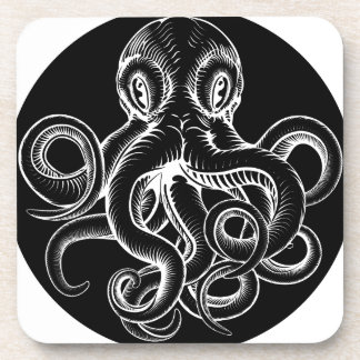 Octopus vintage woodcut engraved etched style coaster