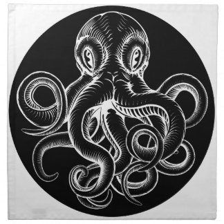 Octopus vintage woodcut engraved etched style napkin