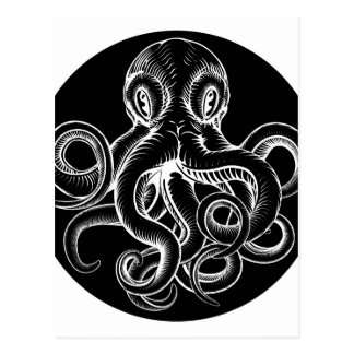 Octopus vintage woodcut engraved etched style postcard