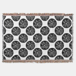 Octopus vintage woodcut engraved etched style throw blanket