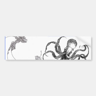 octopus wave bumper sticker