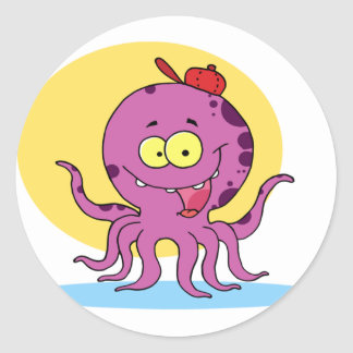 Octopus Wearing A Red Ball Cap Stickers