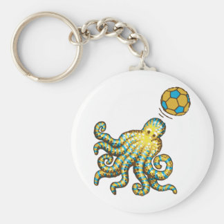 Octopus with a soccer ball keychain