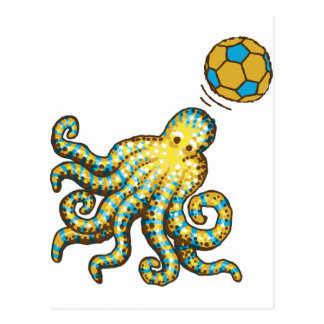 Octopus with a soccer ball postcard