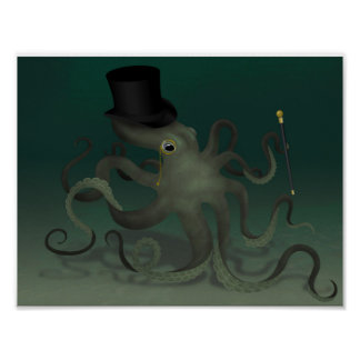 Octopus with a top hat poster