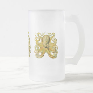 Octopus Yellow Frosted Glass Beer Mug