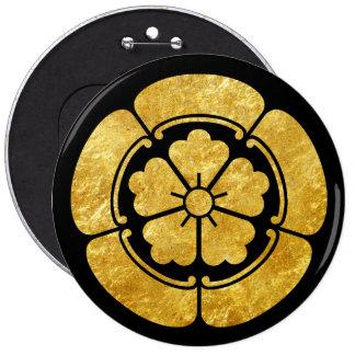 Oda Mon Japanese samurai clan faux gold on black 6 Inch Round Button