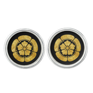 Oda Mon Japanese samurai clan faux gold on black Cuff Links