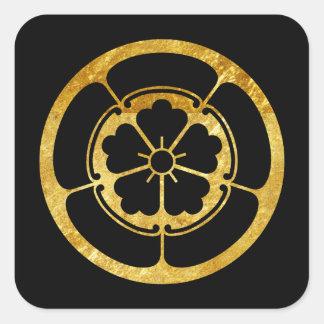 Oda Mon Japanese samurai clan faux gold on black Square Sticker