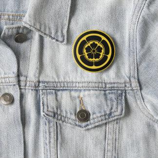 Oda Mon Japanese samurai clan yellow on black 2 Inch Round Button