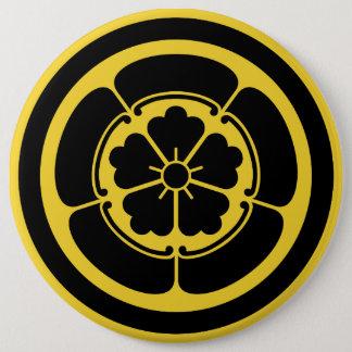 Oda Mon Japanese samurai clan yellow on black 6 Inch Round Button