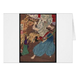 Oda Nobunaga fighting Samurai c.1800s Japanese Art Card