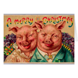Odd Couple Christmas Card Pig Couple!