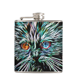 Odd-Eyed Glowing Cat Hip Flask