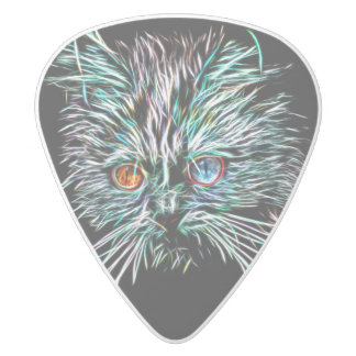 Odd-Eyed Glowing Cat White Delrin Guitar Pick