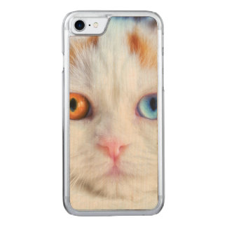 Odd-Eyed White Persian Cat Carved iPhone 7 Case