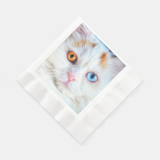 Odd-Eyed White Persian Cat Disposable Napkin