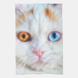 Odd-Eyed White Persian Cat Hand Towels