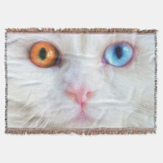 Odd-Eyed White Persian Cat Throw Blanket