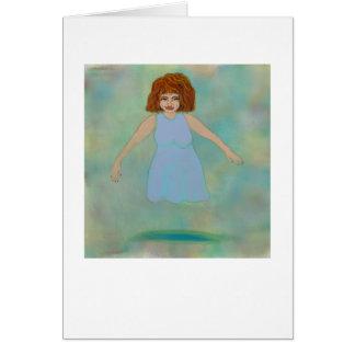 Odd floating woman strange outsider brut folk art greeting card