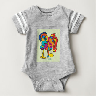 odd happy creatures colorful illustration noa isra baby bodysuit
