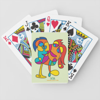 odd happy creatures colorful illustration noa isra bicycle playing cards
