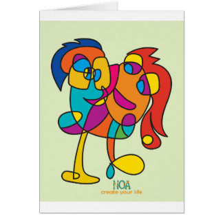 odd happy creatures colorful illustration noa isra card