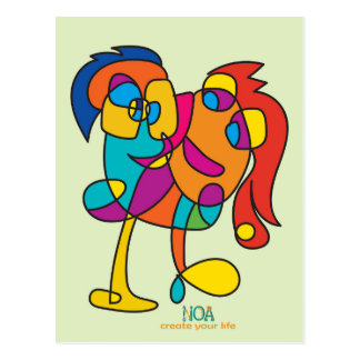 odd happy creatures colorful illustration noa isra postcard