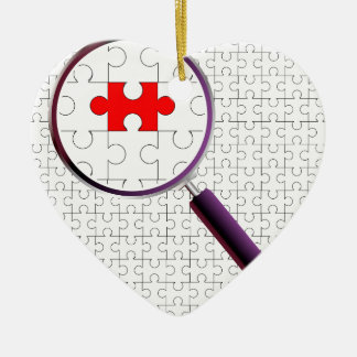 Odd Piece Magnifying Glass Ceramic Heart Ornament