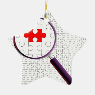 Odd Piece Magnifying Glass Ceramic Star Ornament