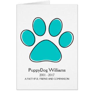 oddRex paw pet loss memorial card