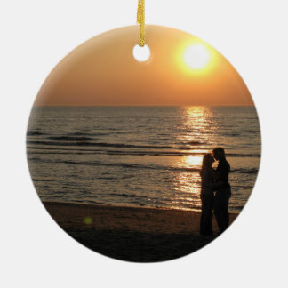 Ode to lovers round ceramic ornament