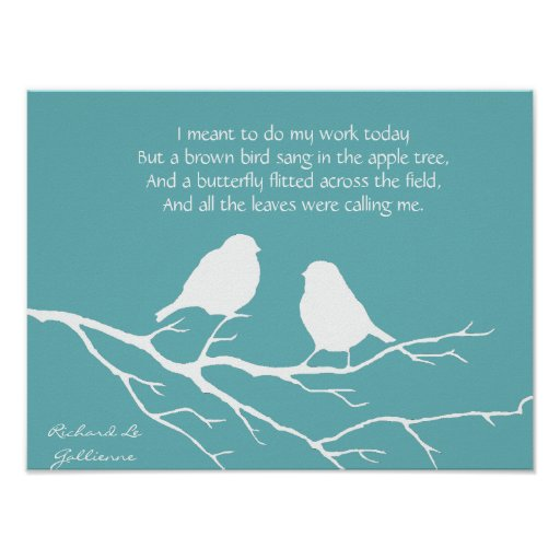Ode to Spring Poem with Little Bird Silhouette Poster