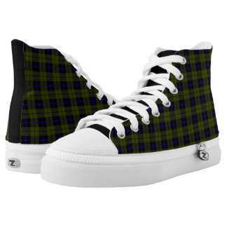 Odee, army, green blue black plaid fabric print high tops