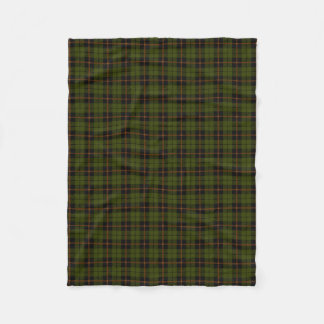 Odee army green plaid black orange stripe fleece blanket