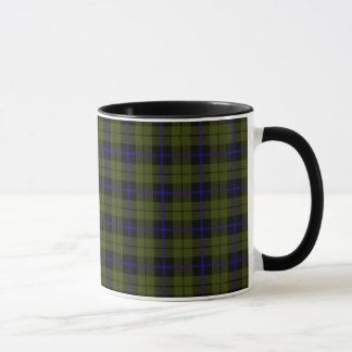 Odee army green plaid with blue stripe mug
