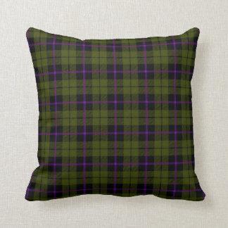 Odee army green plaid with purple plum stripe throw pillow