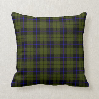 Odee army green plaid with royal blue stripe throw pillow
