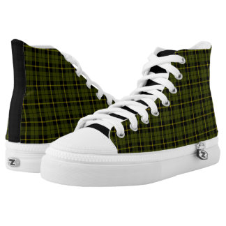Odee, army, green yellow black plaid fabric print high tops
