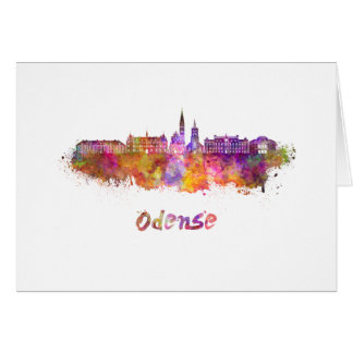 Odense skyline in watercolor card